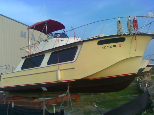 SunSmiles undergoing refinishing of the sundeck prior to shipment to Portland, OR.