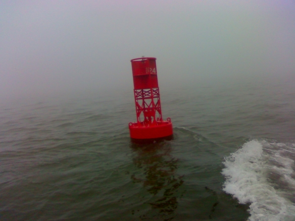 Red Bouy in fog