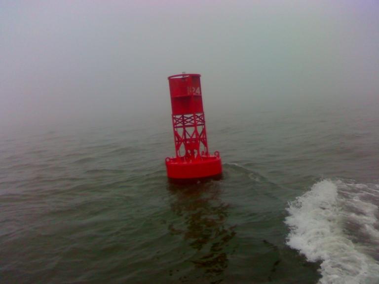 Red Bouy in fog